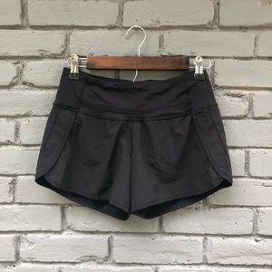 Lululemon Solid Black Speed Shorts sz 2